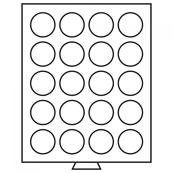 Münzbox 20 runde Fächer (38 mm), rauchfarben