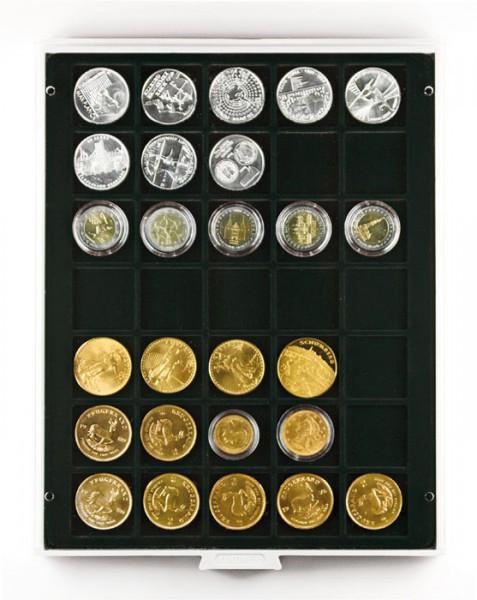 Velourseinlage, schwarz, mit 35 quadratischen Fächern für Münzen/Münzkapseln bis ø36 mm