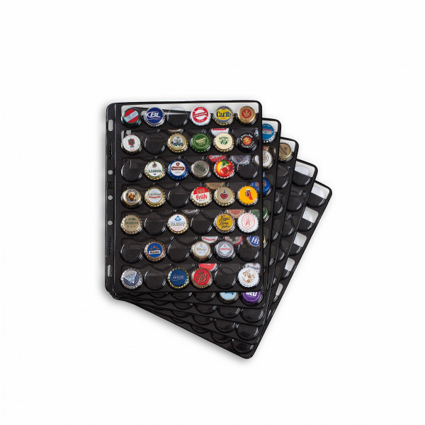 Kunststoffhüllen COMPART, für 42 Kronkorken / Champagner-Deckel, schwarz (5er Pack)