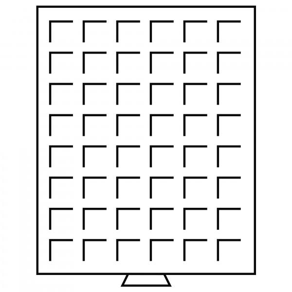 Münzbox 48 eckige Fächer (28 mm), rauchfarben