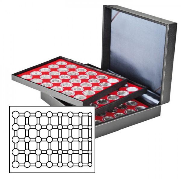 Münzkassette NERA XL mit 3 Tableaus und hellroten Münzeinlagen für 15 Euro-Kursmünzensätze in LINDNER Münzkapseln