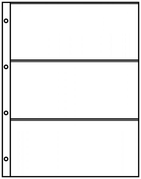 Einsteckblätter A4 schwarz mit 3 Taschen (220 x 97 mm), 10er-Packung