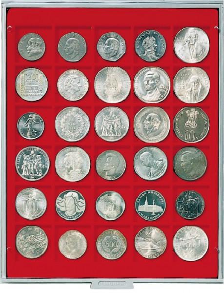 Velourseinlage, hellrot, mit 30 quadratischen Fächern für Münzen/Münzkapseln bis ø38 mm