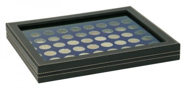 Münzkassette NERA M PLUS mit dunkelblauer Münzeinlage mit 54 runden Vertiefungen für Münzen mit ø 25,75 mm, z.B. für 2 Euro-Münzen