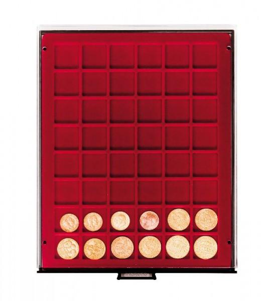 Münzbox RAUCHGLAS mit 48 quadratischen Fächern für Münzen/Münzkapseln bis ø30 mm