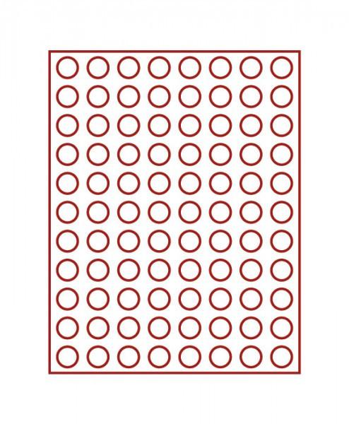 Velourseinlage, dunkelrot, mit 88 runden Vertiefungen für Münzen mit ø21,5 mm