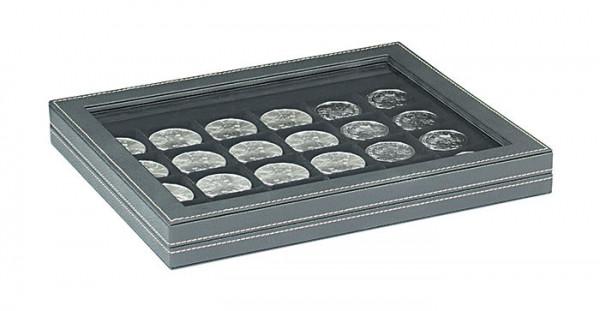 Münzkassette NERA M PLUS mit schwarzer Münzeinlage mit 24 quadratischen Fächern für Münzen/Münzkapseln bis ø 42 mm