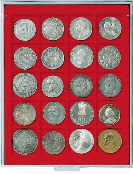 Velourseinlage, hellrot, mit 20 quadratischen Fächern für Münzen/Münzkapseln bis ø47 mm