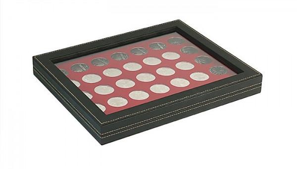Münzkassette NERA M PLUS mit dunkelroter Münzeinlage mit 35 runden Vertiefungen für Münzen mit ø 32,5 mm, z.B. für deutsche 20 Euro- bzw. 10 Euro-Silbermünzen