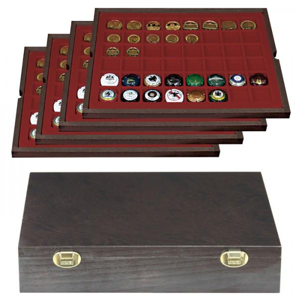 Echtholzkassette CARUS mit 4 Tableaus für 192 Münzen/Münzkapseln bis ø 30 mm oder Champagner-Kapseln