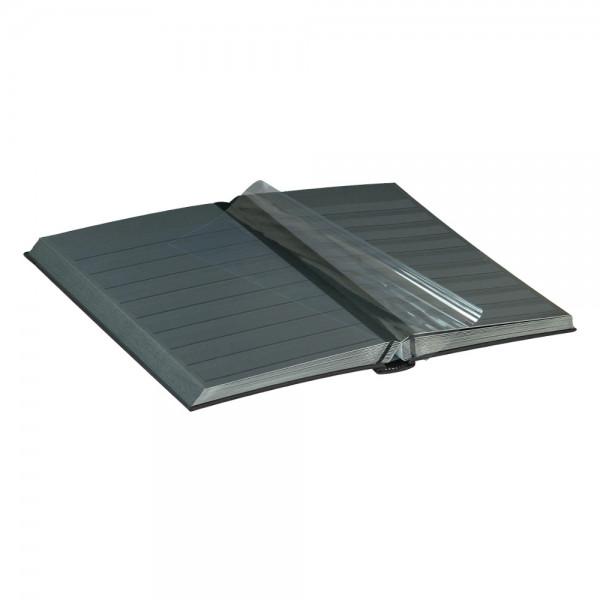 Einsteckbuch DIAMANT, schwarz, wattiert, 60 schwarze Seiten, durchgehende Klarsichtfolien-Streifen, 230 x 305 mm