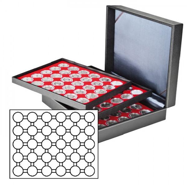 Münzkassette NERA XL mit 3 Tableaus und hellroten Münzeinlagen für 90 Münzkapseln mit Außen-ø 37,5 mm, z.B. für orig. verkapselte deutsche 20 Euro-/10 Euro-Silbermünzen in Spiegelglanz