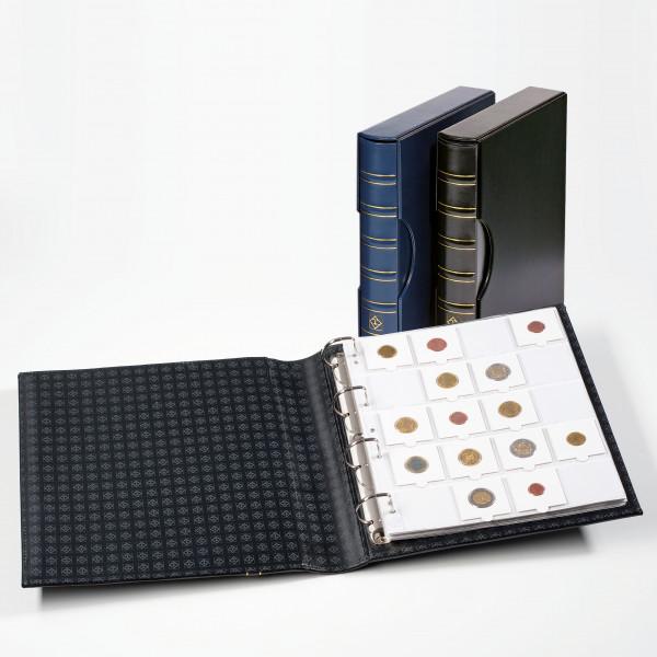 Ringbinder GRANDE, inkl.10 Hüllen für 200 Münzrähmchen, inkl. Kass., schwarz