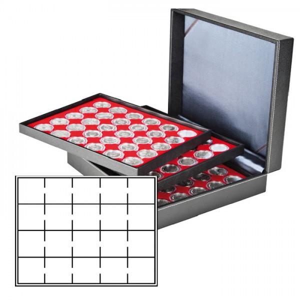 Münzkassette NERA XL mit 3 Tableaus und hellroten Münzeinlagen für 60 Münzrähmchen 50x50 mm/Münzkapseln CARRÉE/OCTO Münzkapseln