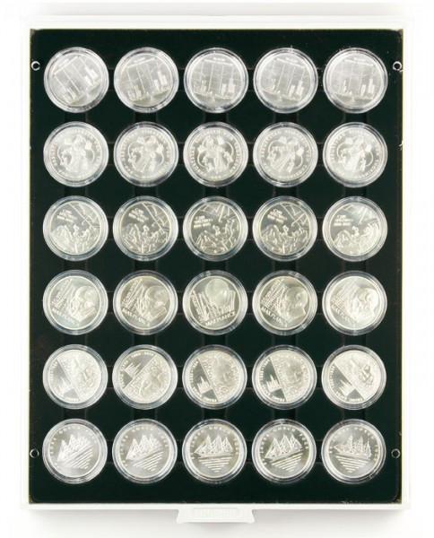 Münzbox CARBO mit 30 runden Vertiefungen für Münzkapseln mit Außen-ø 37,5 mm, z.B. für orig. verkapselte deutsche 20 Euro-/10 Euro-Silbermünzen in Spiegelglanz