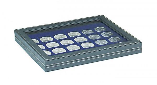Münzkassette NERA M PLUS mit dunkelblauer Münzeinlage mit 24 quadratischen Fächern für Münzen/Münzkapseln bis ø 42 mm