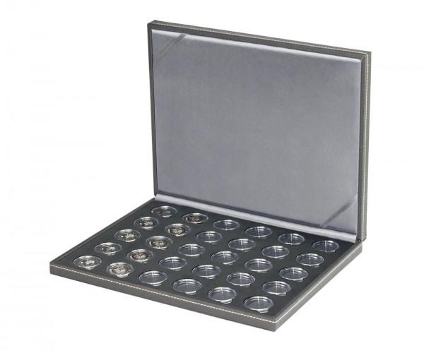 Münzkassette NERA M BLACK SAMT für 30 verkapselte deutsche 5 Euro-Sammlermünzen, inkl. Münzkapseln