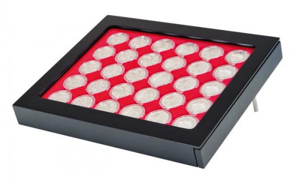 Münzbox-Rahmen CHASSIS Mattschwarz inkl. Münzbox-Grau / rote Einlage für 10 Euro-Münzen PP