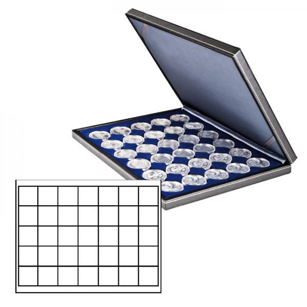 Münzkassette NERA M mit dunkelblauer Münzeinlage mit 35 quadratischen Fächern für Münzen/Münzkapseln bis ø 36 mm