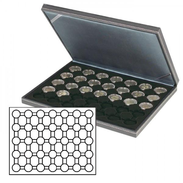 Münzkassette NERA M mit schwarzer Münzeinlage mit 35 runden Vertiefungen für Münzkapseln mit Außen-ø 32 mm, z.B. für 2 Euro-Münzen in LINDNER Münzkapseln