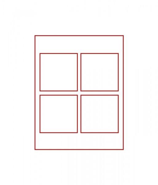 Velourseinlage, STANDARD mit 4 quadratischen Fächern 100 x 100 mm für Münzen/Medaillen und sonstige Sammelobjekte