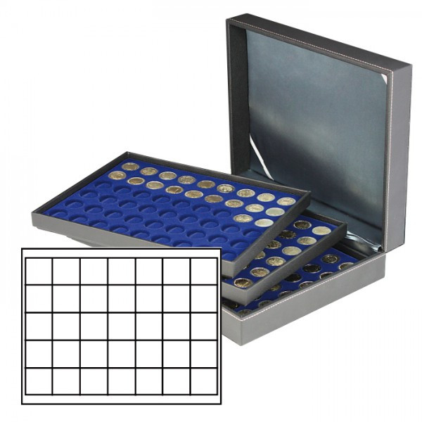 Münzkassette NERA XL mit 3 Tableaus und dunkelblauen Münzeinlagen mit 105 quadratischen Fächern für Münzen/Münzkapseln bis ø 36 mm