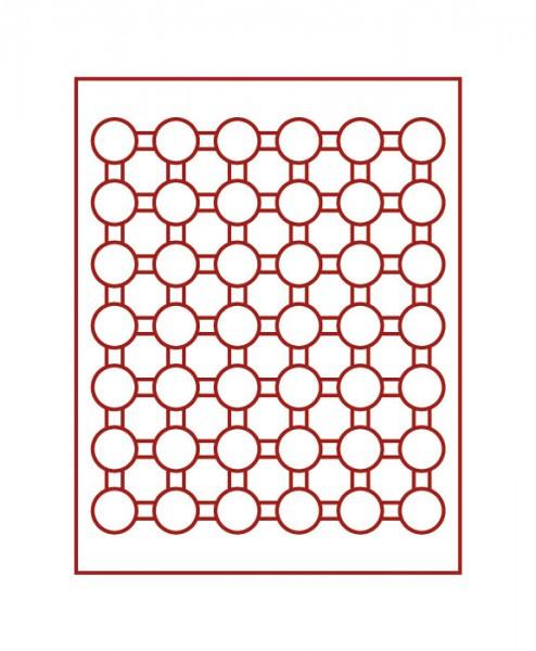 Velourseinlage, dunkelrot, mit 42 runden Vertiefungen für Münzkapseln mit Außen-ø 29,5 mm