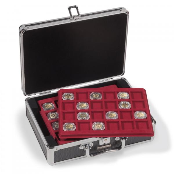 Münzkoffer CARGO S6 für 144 2-Euro-Münzen in Kapseln, schwarz / silber