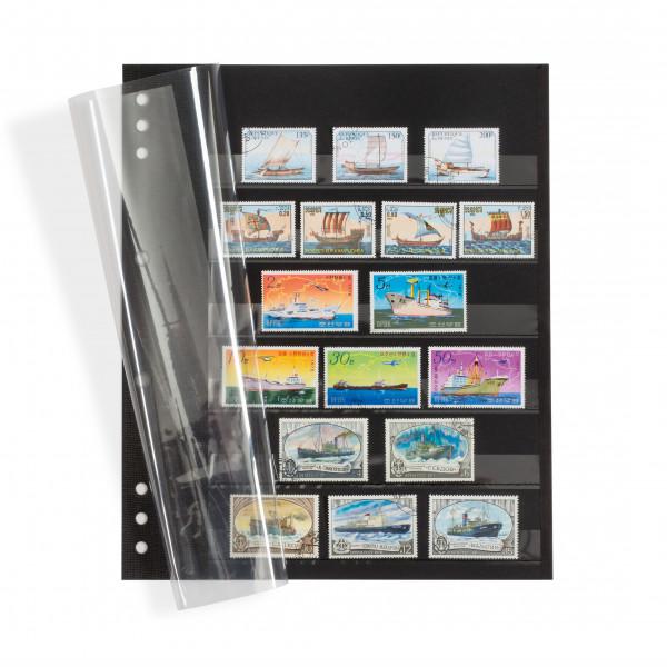 Einsteckblätter OMEGA, schwarzer Karton mit 6 Klarsichtstreifen und Klarsichtdeckblatt, 5er Pack