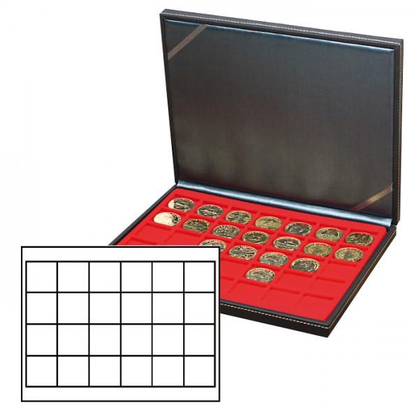 Münzkassette NERA M mit hellroter Münzeinlage mit 24 quadratischen Fächern für Münzen/Münzkapseln bis ø 42 mm