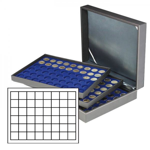 Münzkassette NERA XL mit 3 Tableaus und dunkelblauen Münzeinlagen mit 144 quadratischen Fächern für Münzen/Münzkapseln bis ø 30 mm oder Champagner-Kapseln