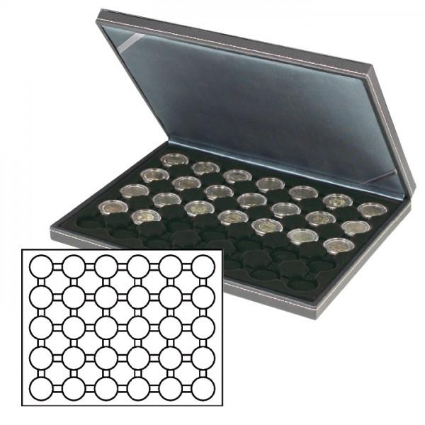 Münzkassette NERA M mit schwarzer Münzeinlage mit 30 runden Vertiefungen für Münzkapseln mit Außen-ø 37,5 mm, z.B. für orig. verkapselte deutsche 20 Euro-/10 Euro-Silbermünzen in Spiegelglanz