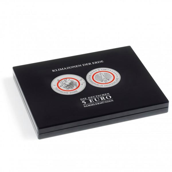 """Münzkassette für dt. 5-Euro-Sammlermünzen """"Klimazonen der Erde"""" in Kapseln, schwarz"""