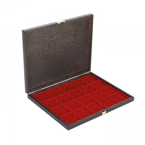Echtholz-Münzkassette CARUS-1 mit einer dunkelroten Münzeinlage für 20 Münzrähmchen 50x50 mm/Münzkapseln CARRÉE/OCTO Münzkapseln