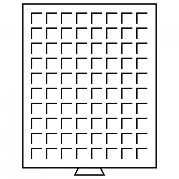 Münzbox 80 eckige Fächer (24 mm), rauchfarben