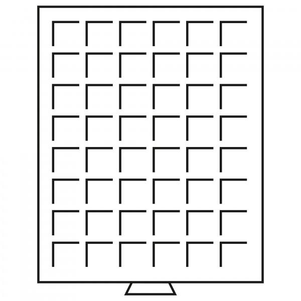 Münzbox 48 eckige Fächer bis 30 mm Ø, grau
