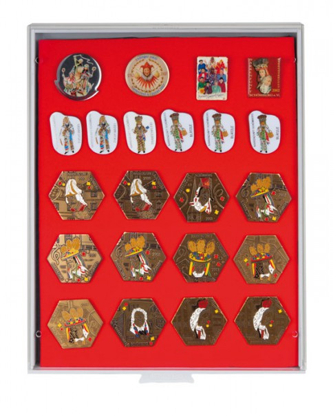 Sammelbox STANDARD mit roter Schaumstoffeinlage für PINs / Orden / Abzeichen