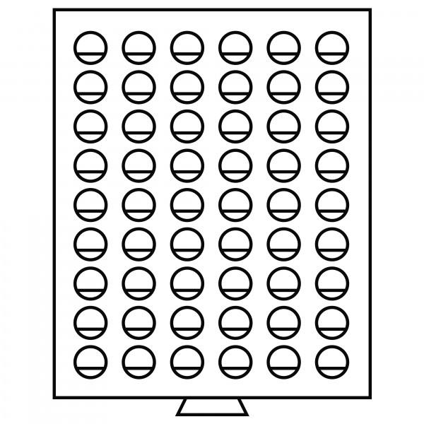 Münzbox 54 runde Fächer mit 26mm Ø, grau