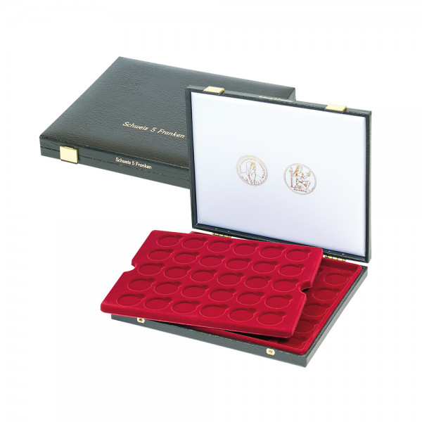 Luxus-Kassette für 60 Stück 5 Franken-Münzen (31 mm ø)