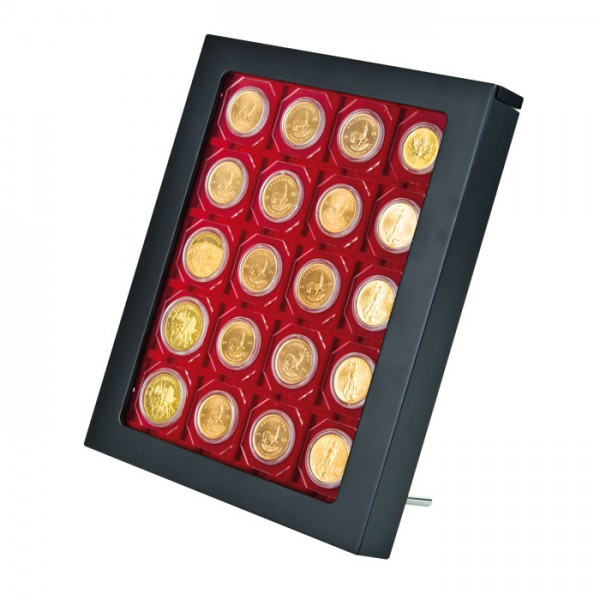 Münzbox-Rahmen CHASSIS Mattschwarz inkl. Münzbox-Rauchglas dunkelrote Einlage für OCTOS/Rähmchen