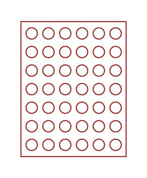 Velourseinlage, dunkelrot, mit 42 runden Vertiefungen für Münzen mit ø 27,5 mm, z.B. für deutsche 5 Euro-Münzen