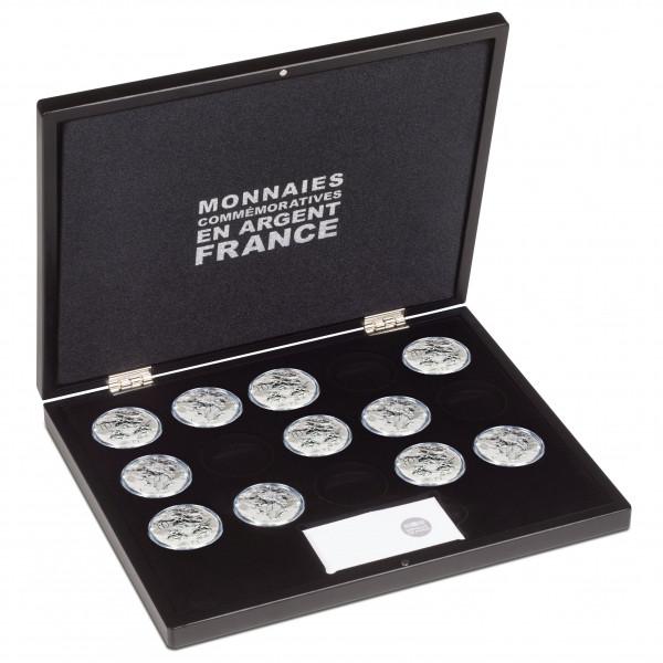 Münzkassette für 15 franz. 10€-/1,5€-Gedenkmünzen in Kapseln (Ø 37 mm), 1-lagig, schwarz