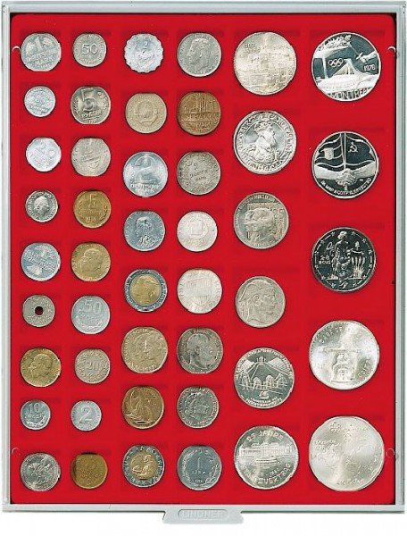 Velourseinlage, hellrot, mit 45 rechteckigen Fächern für Münzen/Münzkapseln bis ø24, 28, 39 und 44 mm