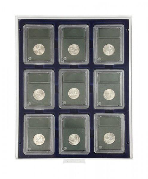 Velourseinlage, dunkelblau, für 9 US-Münzkapseln (Slabs) bis zu einem Format von 63x85 mm