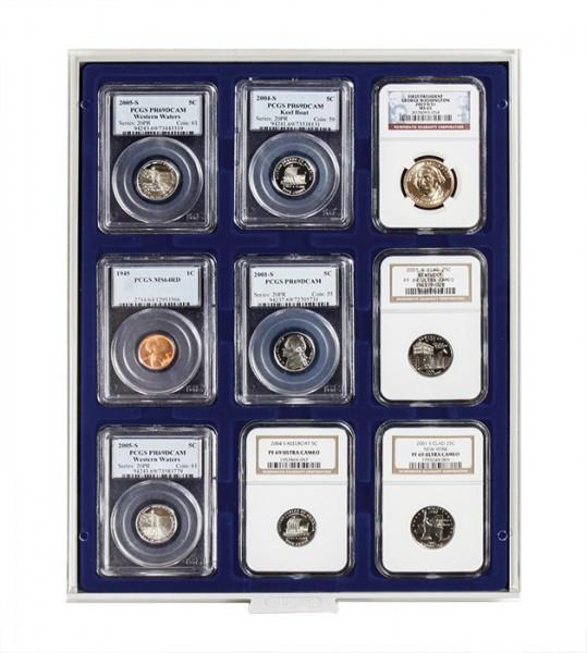 Münzbox MARINE für 9 US-Münzkapseln (Slabs) bis zu einem Format von 63x85 mm