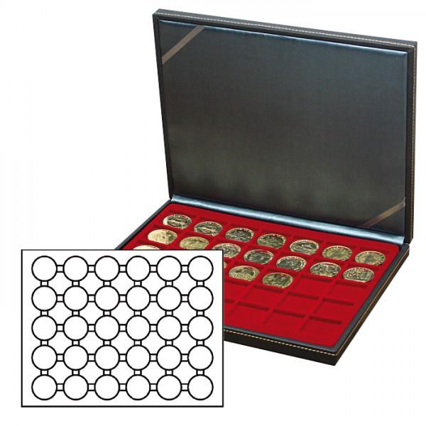 Münzkassette NERA M mit dunkelroter Münzeinlage mit 30 runden Vertiefungen für Münzkapseln mit Außen-ø 39,5 mm, z.B. für deutsche 20 Euro-/10 Euro-Silbermünzen in LINDNER Münzkapseln