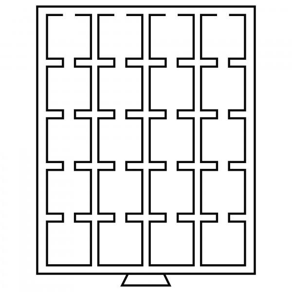 Münzbox 20 eckige Fächer, 50 x 50 mm, rauchfarben