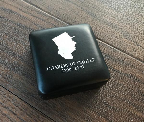 """Münzetui NOBILE für eine 2-Euro-Münze """"Charles de Gaulle"""" in Kapsel, schwarz"""