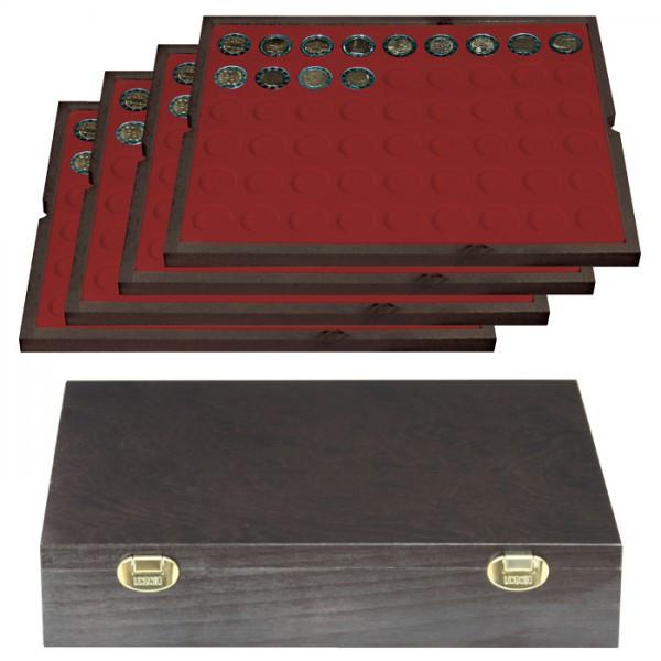Echtholzkassette CARUS mit 4 Tableaus für 216 Münzen mit ø 25,75 mm, z.B. für 2 Euro-Münzen