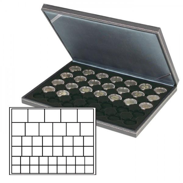 Münzkassette NERA M mit schwarzer Münzeinlage mit 45 rechteckigen Fächern für Münzen/Münzkapseln bis ø 24, 28, 39 und 44 mm
